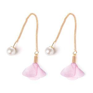 Jewelry - Pearl & Pink Flower Gold Thread Drop Earrings